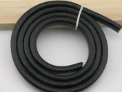 1 Metre Soft 10.0x6.0mm Embossed Black Licorice Real Leather Cord