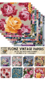 Paper Pack (24sh 15cm x 15cm ) Large Flowers Art Deco FLONZ Vintage Paper for Scrapbooking and Craft