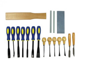SE 7718WC Professional Wood Carving Chils with Cloth Pouch-18 Piece
