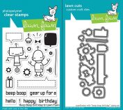 Lawn Fawn Beep Boop Birthday Clear Photopolymer Stamps and Lawn Cuts Steel Dies Bundle LF676 LF677