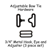 Adjustable Bow Tie Hardware Clips - 1.9cm Black Metal - 25 Sets