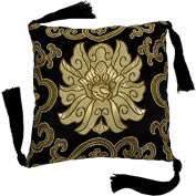 Singing and Meditation Brocade Bowl Cushion (Black); 13cm