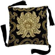Singing and Meditation Brocade Bowl Cushion (Black); 13cm