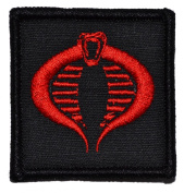 COBRA Emblem 2x2 Military Patch / Morale Patch - Black with Red