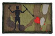 Blackbeard Edward Teach Pirate Flag 3.75x2.25 Military Patch / Morale Patch - Multicam with Black