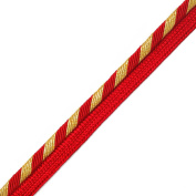 Twisted Cordedge Trim for pillows, lamps, draperies, 1.3cm by 2 yards, Red/Gold, SP-2106