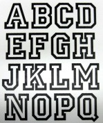 5.1cm Iron-On Jersey Letters in Black Open Style