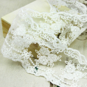 Wholeport 8.9cm White Lace Trim Cotton Embroidery Flower Soft Gauze Wedding Fabric By the Yard