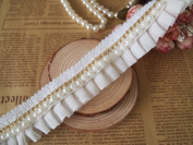 2.5cm - 0.3cm Wide Beads Trims Wrinkle Lace by 1 Yard In White