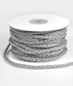 5mm Silver Braided Cord Trim - 25 Yards