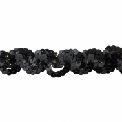 Sequin Trim 2.5cm Wide Polyester Non Stretch Sequin Trim Rolls for Arts and Crafts, 10-Yard, Black