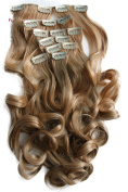 PRETTYSHOP Clip In Hair Extensions 60cm 120g Set 7pcs Full Head Hairpiece Curled Wavy Heat-Resisting