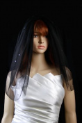 Bridal Veil Black 2 Tiers Shoulder Length Standard Cut Edge Scattered Rhinestone
