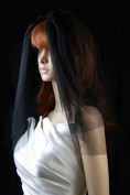 Bridal Veil Black Gothic 2 Tiers Short Shoulder Length Standard Plain Cut Edge