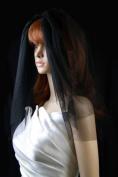 Bridal Veil Black Gothic 2 Tiers Short Shoulder Length Standard Plain Cut Edge