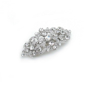 Bridal Hair Barrette Vintage Romancing Heart Rhinestone Crystal Small 5.1cm