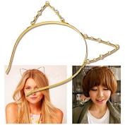 Hip Mall Sweet Fashion Crystal Rhinestone Metal Headwear Punk Hair Wrap Cat Ear Headband Party
