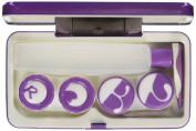 JAVOedge Purple Metallic Contact Lens Travel Kit with Mirror, 2 Twist Cap Lens Set, and 1 Large Solution Bottle