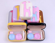 Giraffe Pattern Contact Lens Case Box Kit Set With Small Mirror, Colour Send in Random