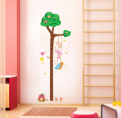 OneHouse Tall Green Brown Tree Growth Chart Measurement (10-170cm) Animal Nursery Wall Decal Vinyl Sticker