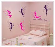 OneHouse Lulu The Flower Angel Quote Six Pink Purple Fairy DIY Wall Decal Nursery Room Wall Decor Mural