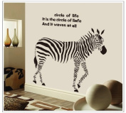OneHouse Circle of Life Quote Zebra Wall Mural Home Decor Sticker