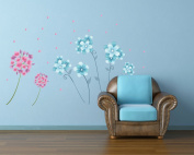 OneHouse Blue and Red Flowers Flying Leaves Removable Wall Decor Sticker Vinyl Decal