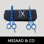 Professional Barber Hair Thinning Scissors & Shears Set TITANIUM Blue SS J 2 H 54