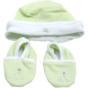 Piccolo Bambino Cotton Hat and Booties, Green