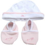 Piccolo Bambino Cotton Hat and Booties, Pink