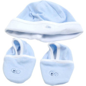 Piccolo Bambino Cotton Hat and Booties, Blue