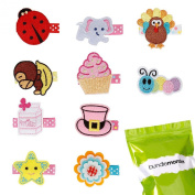 Bundle Monster 10 pc Baby Girls Embroidered Design Hair Clip Accessories - Set 2