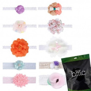 Bundle Monster Baby Girl 10 pc Soft Elastic Lace Ribbon Hair Band Headband Set
