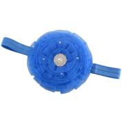 Reflectionz Blue Stretch Rhinestone Pearl Tulle Flower Headband