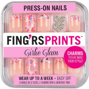 Fing'rs Prints Girlie Glam Press-On Nails, Pretty Petals, 26 count
