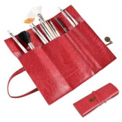 INSTEN Fashion Red Roll Up Leather Beauty Make up Cosmetic Pencil Case Bag Makeup Brush Holder