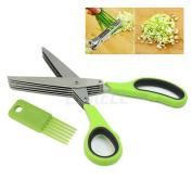 Stainless Steel 5 Blade Shredding Scissors Sharp Herb Kitchen Paper Office Tool