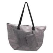 Premium Connexion 290-WSSB Roberto Amee Silver Woven Straw Tote Bag
