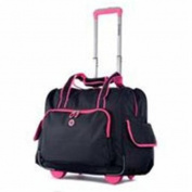 Luggage America RT-3500-BK plus PK DELUXE FASHION ROLLING OVERNIGHTER Black & Pink
