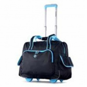 Luggage America RT-3500-BK plus BU DELUXE FASHION ROLLING OVERNIGHTER Black & Blue