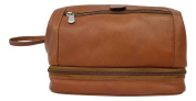 Leather Utility Kit w Water Resistant Lining & Zip Bottom in Saddle