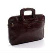 Tony Perotti Unisex Italian Bull Leather Genoa Zip Around Top Handle Leather Document Case in Brown