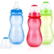 Nuby 3-Pack 330ml Tinted Non-Drip Bottle, Boy, BPA-Free