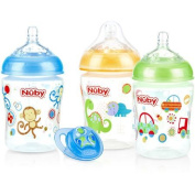 Nuby 3-Pack Natural Touch 270ml Printed Baby Bottles with Comfort Orthodontic Pacifier, Boy, BPA-Free
