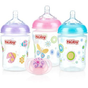 Nuby 3-Pack Natural Touch 270ml Printed Baby Bottles with Comfort Orthodontic Pacifier, Girl, BPA-Free