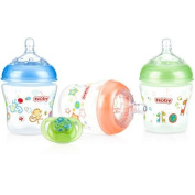 Nuby 3-Pack Natural Touch 180ml Printed Baby Bottles with Comfort Orthodontic Pacifier, Neutral, BPA-Free