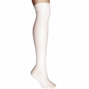 Luxury Divas Ivory Cable Knit Thigh High Over The Knee Socks