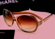 CHANEL Pearl Oversized Sunglasses Light Brown