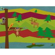 Green Leaf Art Forest Animals Canvas Art