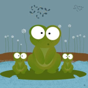 Green Leaf Art Family Frogs Canvas Art